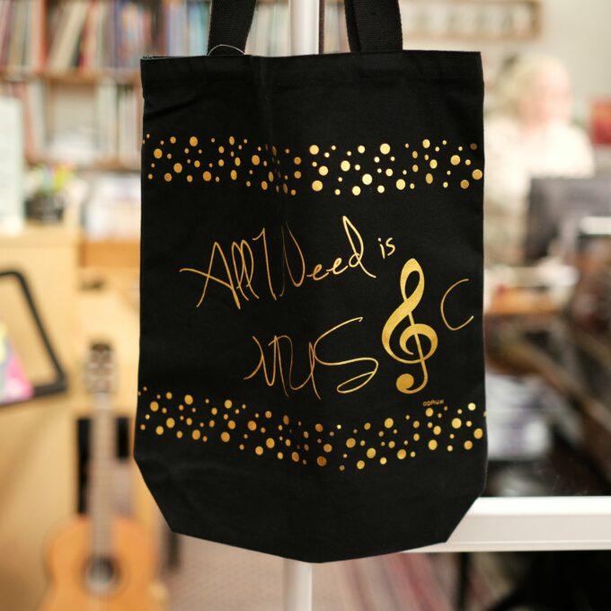 Musik Noten Tasche schwarz gold