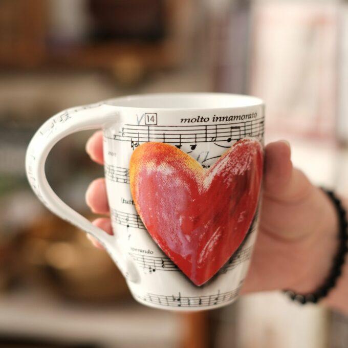 Musik Tasse Becher Noten Herz 2