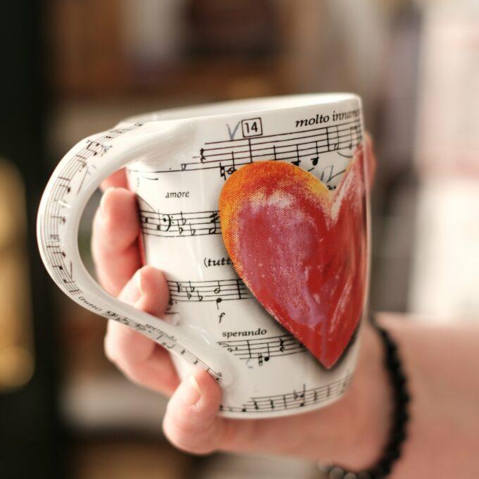 Musik Tasse Becher Noten Herz