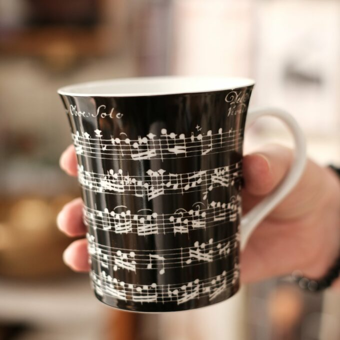 Musik Tasse Becher Noten schwarz
