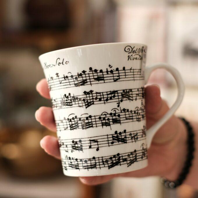 Musik Tasse Becher Noten weiss