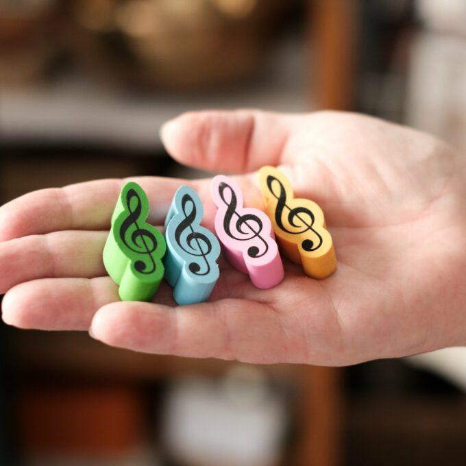 Radiergummi Violinschlüssel bunt