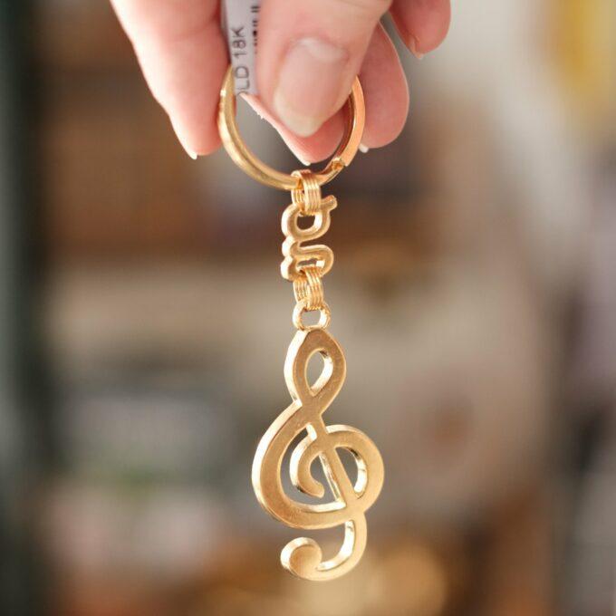 Schlüsselanhänger Violinschlüssel gold