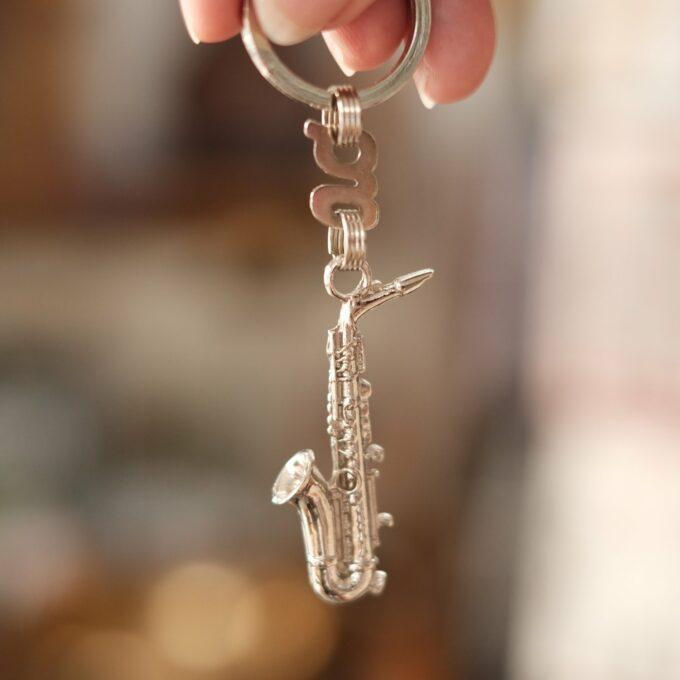 Schlüssleanhänger Saxophon silber
