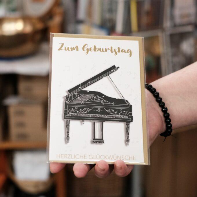 Geburtstags Karte mit Umschlag Piano Klavier