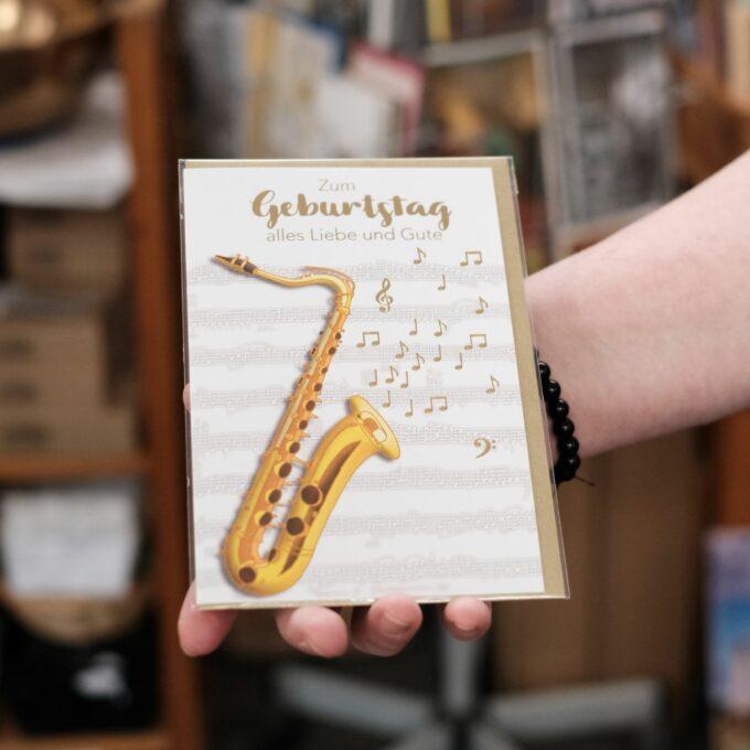 Geburtstags Karte mit Umschlag Sax