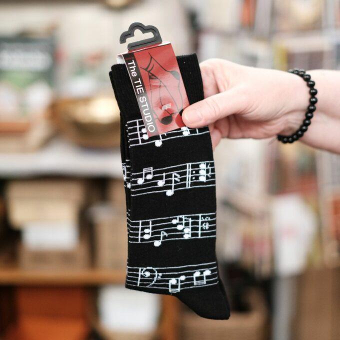Musik Socken Notenlinien schwarz